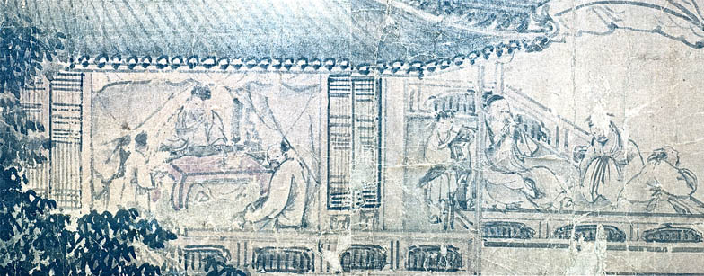 Hyakusen. Detail, Scholars Gathered in a Mountainside Pavilion.