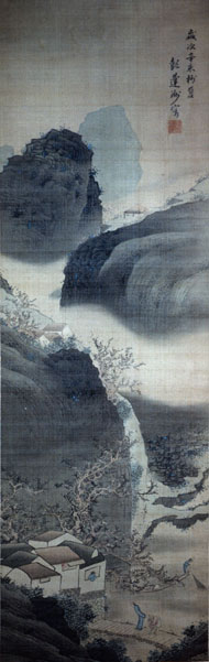 Hyakusen. NIght Landscape with Returning Traveller. Private Collection, Japan